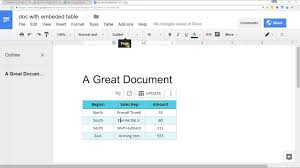 Google Doc Format Embed A Spreadsheet From Google Sheets Into Google Docs Youtube