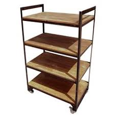 Free Standing Retail Display Units Half Size Wooden Worktop With Metal Frame BRIX Retail Display 89