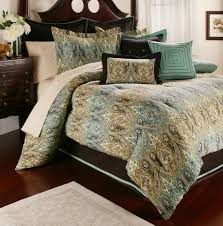 comforter sets king size bed with teal blue and brown linen bedding combined cream carpet