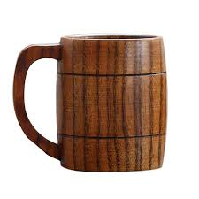 5pcs classical handmade wooden tea mugs 350ml