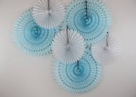 Turquoise Baby Shower Decorations Baby Shower Decorations 6 Tissue Paper Fan Wheels White And