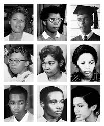 Image result for nine black students, are escorted to the all-white Central High School in Little Rock, Arkansas.