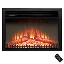 23 black freestanding logs portable electric fireplace heater w remote control 0