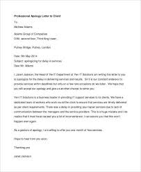 Customer Apology Letter Examples Classy Professional Apology Letter 48 Free Word PDF Format Download