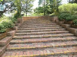 Lawn & Garden:Long Garden Stairs Entrance Ideas Brick Garden Stairs Idea