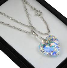 925 sterling silver necklace crystal ab 18mm heart crystals from swarovski