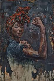 rosie tim okamura canadian b 1968 oil on canvas board 2016 figurative art strong female standing african american black