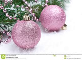 Pink Christmas Balls And Spruce Branches, Selective Focus Stock ...