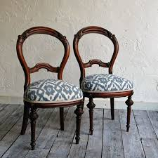pair of newly upholstered victorian balloon back chairs with woven cotton ikat fabric by territoryhardgoods 350 00