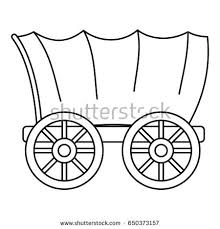 black and white covered wagon. ancient western covered wagon icon in outline style isolated on white background illustration black and i