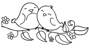 Small Picture Love Birds Sitting on the Flowering Branch Coloring Pages Batch
