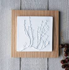 plaster cast wall art thyme on ash wood