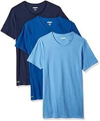 lacoste men s 3 pack slim fit crew neck tee navy blue yonder limoges s at amazon men s clothing
