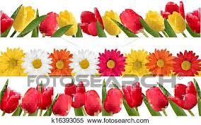 spring flowers border clipart. Brilliant Border Clipart  Spring Flower Borders Vector Fotosearch Search Clip Art  Illustration With Flowers Border R
