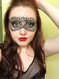 drawn on masquerade mask with rhinestones galaxy makeup
