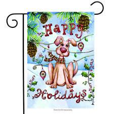 happy holidays dog fall garden flag