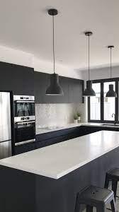 Black And White Kitchen Bosch Appliances Absolute Matte Black Laminex Cupboards Qu White Modern Kitchen White Kitchen Black Appliances Modern Kitchen Design
