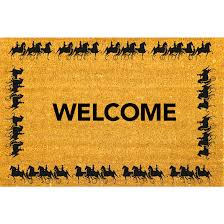 Horse and Carriage Coco Coir Doormat , At The Stables Welcome Mat