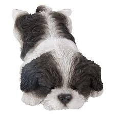 hi line gift black and white shih tzu puppy sleeping statue