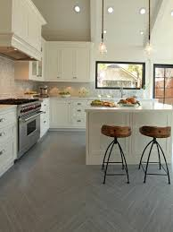 Floor Tiles In Kitchen Alluring Sleek White Ceramic Floor Tile For Contemporary Kitchen