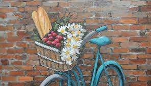 painting brick wallsOriginal Acrylic Painting on Canvas  Turquoise Bicycle in Front