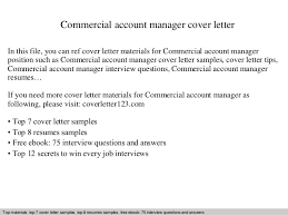 Commercial Account Manager Cover Letter
