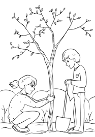 Girl And Boy Planting A Tree Coloring Page Free Printable Coloring