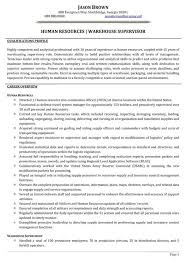 human resources warehouse supervisor resume sample supervisor resume sample