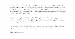 Sample Wedding Thank You Letter to Parents of The Bride