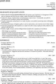 job resume free restaurant manager resume examples template