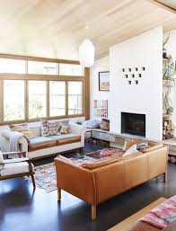 Leather Couch Decorating Living Room Warm Living Room Decorating Ideas White Lighting And Fireplace And