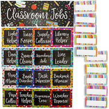 Classroom Monitors Chart Juvale 17 Piece Chalkboard Design Classroom Jobs Chart Set For Bulletin Board And 50 Blank Name Tags