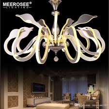 new creative modern led pendant lights swan shape hanging lamp dining room living room pendant home lighting white chandelier orb chandelier from meerosee18