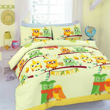details about yellow childs kids owl birds duvet set bedding quilt cover single all sizes