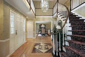 Modern Tile Flooring Ideas For Foyer With Wood Floor And Curved Staircase To Models