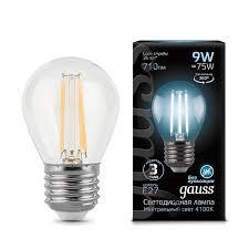 <b>Лампа Gauss LED</b> Filament Globe <b>E27</b> 9W 4100K - Gauss ...