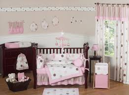 decoration ideas baby nursery interior excellent parquet flooring and pink baby bedding on dark brown wooden baby crib also white
