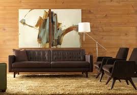 mid century living room with modern appeal dark brown leather sofa with tuftings a pair of
