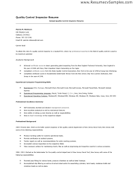 Contemporary Ideas Quality Control Inspector Resume Click Here To