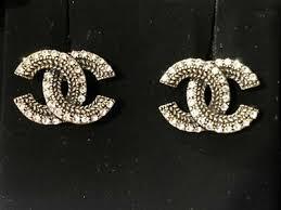 Authentic Chanel <b>2019</b> CC Logo Crystal Gold Tone <b>Brass Earrings</b> ...
