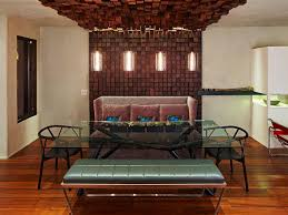 wood accent wall in dining room