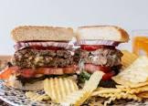 bacon  dijon mustard   green onion stuffed burger