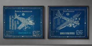 plane blueprint wall art