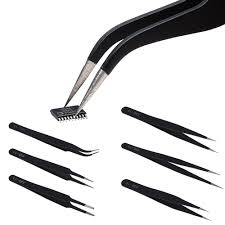 <b>ESD Anti</b>-<b>Static Stainless</b> Steel Tweezers Set - <b>6Pcs</b>
