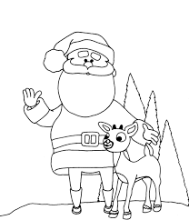 Santa Coloring Pages With Reindeer Free Christmas And Happy New