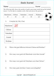 Goals Scored Tally Chart Printable Grade 2 Math Worksheet