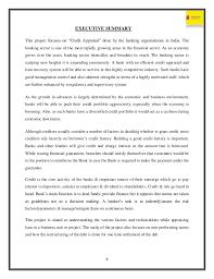 executive summary format for project report vijaya bank project report