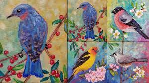Easy Bluebird Acrylic Painting Tutorial Live Songbird Mini Canvas Series