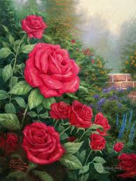 a perfect red rose thomas kinkade oil paintings