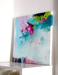 original abstract painting modern work of art acrylic painting canvas art painting turquoise fuchsia pink artwork on stretched canvas
